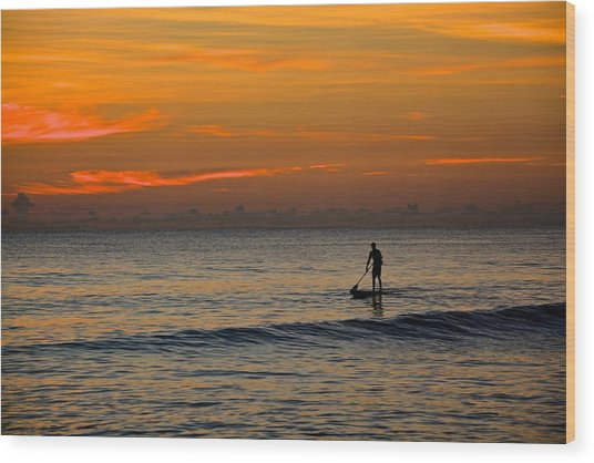 Sunrise Paddling Wood Print by Cloe Couturier