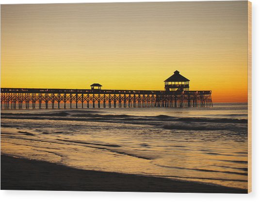 Sunrise Pier Folly Beach Sc Wood Print