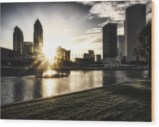 Sunrise Row Wood Print