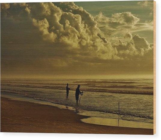 Sunrise Surf Fishing Wood Print