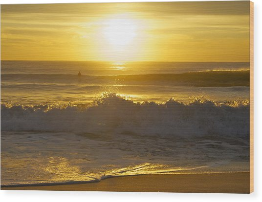 Sunrise Surf Wood Print