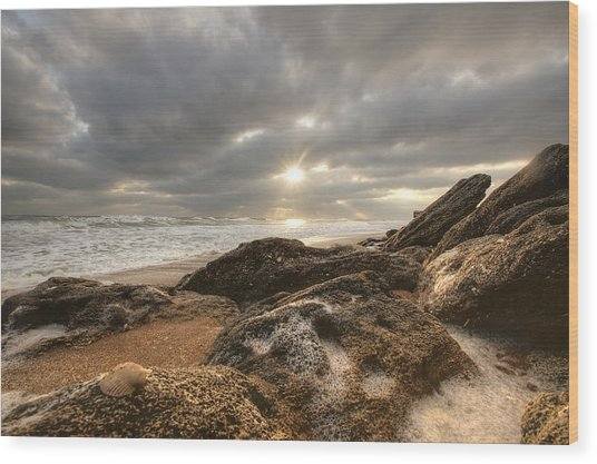 Sunrise Surf On The Rocks Wood Print by Danny Mongosa