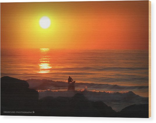 Sunrise Surfer Wood Print