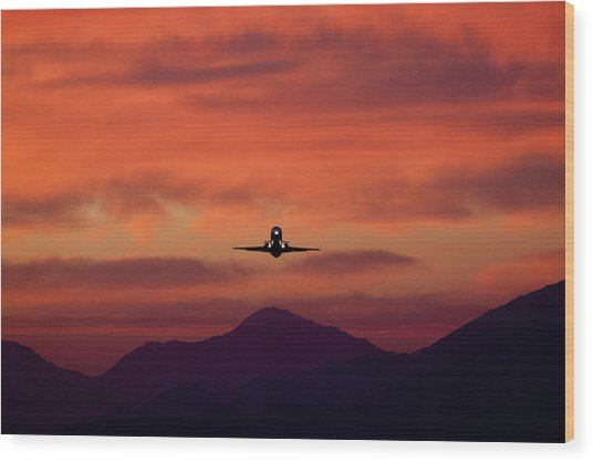 Sunrise Takeoff Wood Print