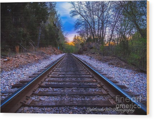 Sunrise Tracks Wood Print
