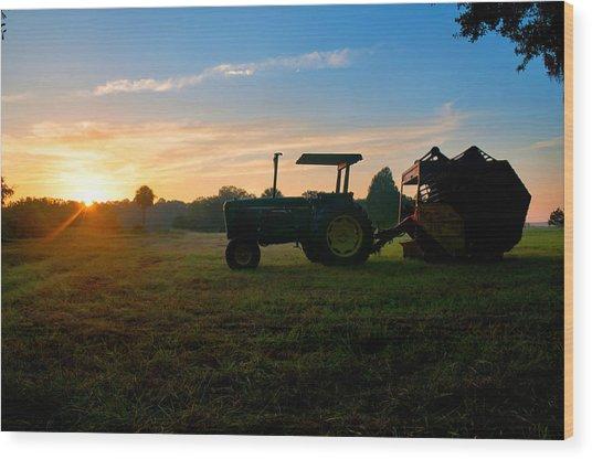 Sunrise Tractor Wood Print