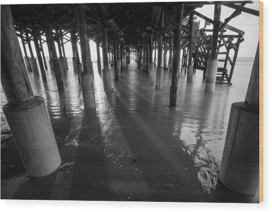 Sunrise Under Pier Wood Print