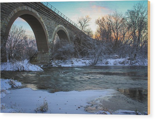 Wood Print featuring the photograph Sunrise Under The Bridge by Viviana  Nadowski