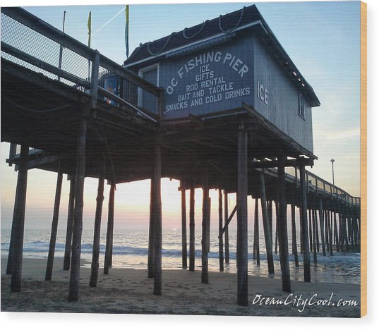 Sunrise Under The Oc Fishing Pier Wood Print