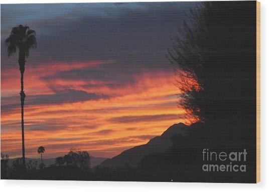 Sunrise With Lone Sentinel Over Desert Wood Print