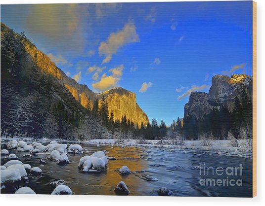 Sunrise Yosemite Valley Wood Print