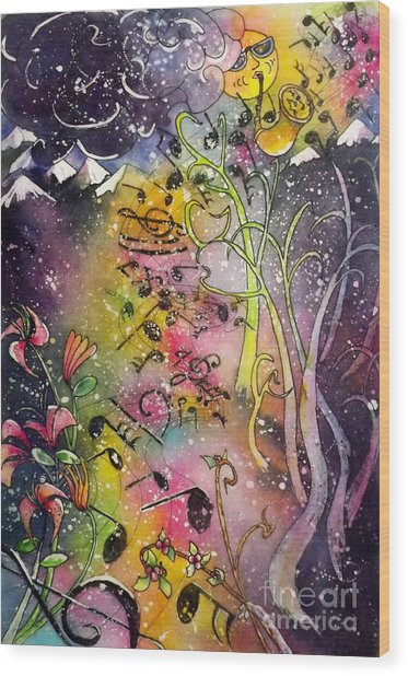 Suns Sax Spring Song Wood Print
