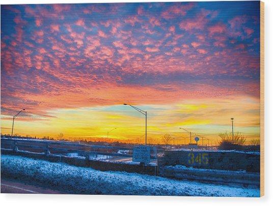 Sunset 1-3-14 Northern Illinois 001 Wood Print by Michael  Bennett