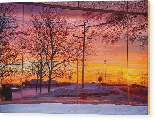 Sunset 1-3-14 Northern Illinois 005 Wood Print by Michael  Bennett