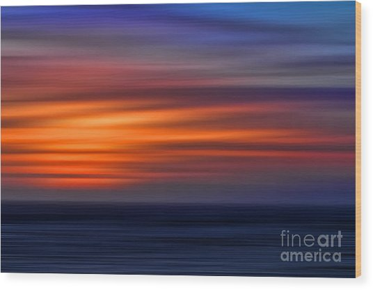 Sunset Abstract Wood Print by Clare VanderVeen