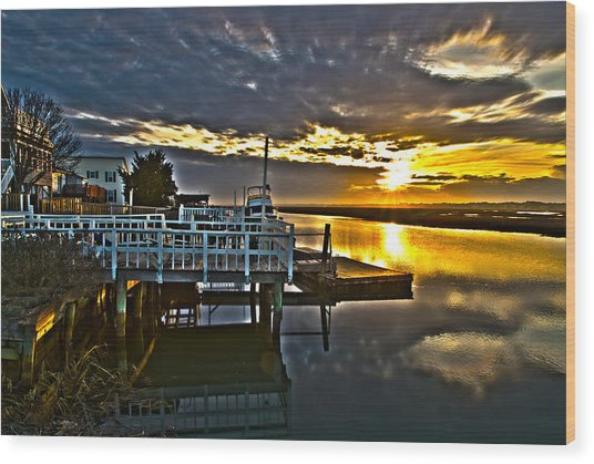 Sunset Across The Inlet Wood Print