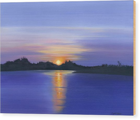 Sunset Across The River Wood Print