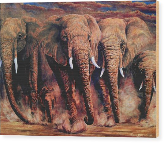 Sunset African Giants Wood Print