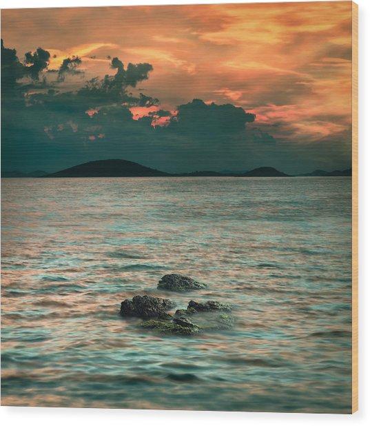 Sunset Wood Print by Akos Kozari