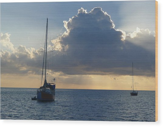 Sunset And Boats - St. Lucia Wood Print