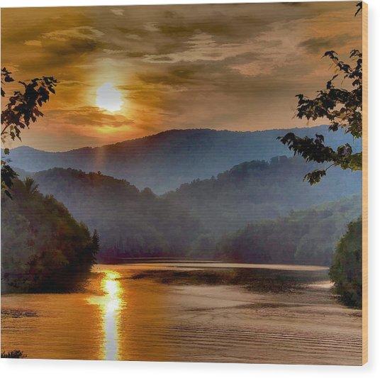 Sunset And Haze Wood Print