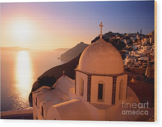 Sunset And Orthodox Church Wood Print