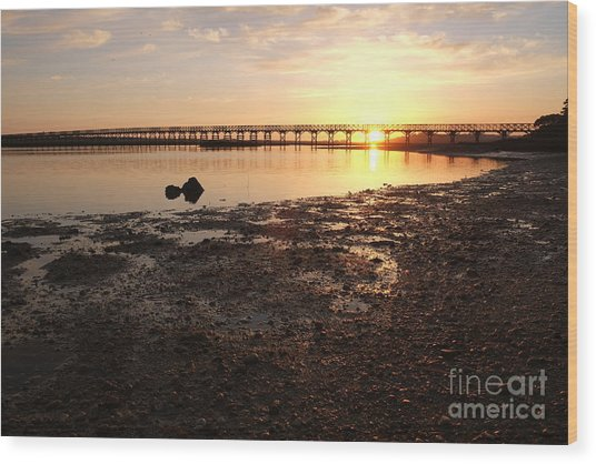 Sunset And Wooden Bridge In Ludo Wood Print