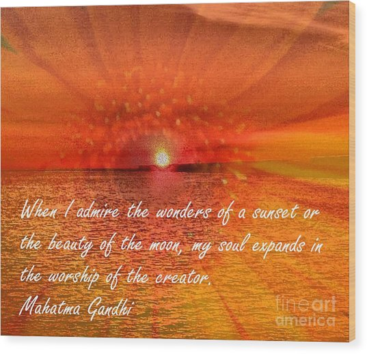 Sunset And Worship Of The Creator By Saribelle Rodriguez Wood Print