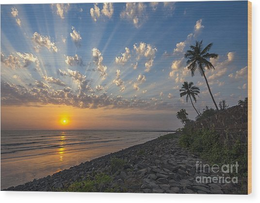 Sunset At Alibag, Alibag, 2007 Wood Print