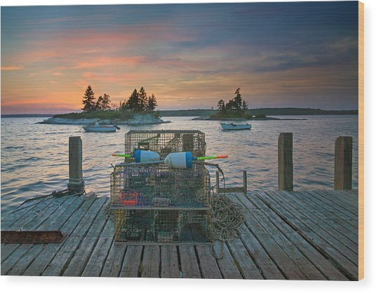 Sunset At Allen's Dock Wood Print