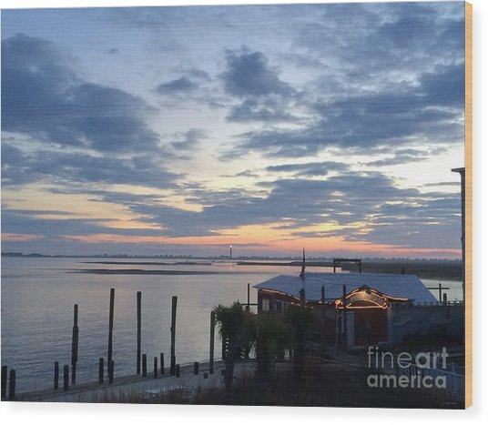 Sunset At American Fish Co       Safe Havens Ivans In Southport Nc Wood Print