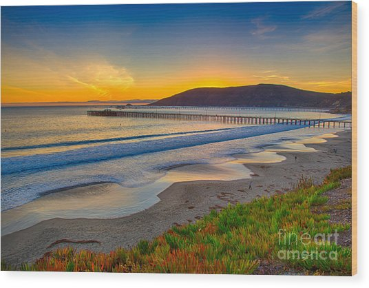 Sunset At Avila Beach Wood Print