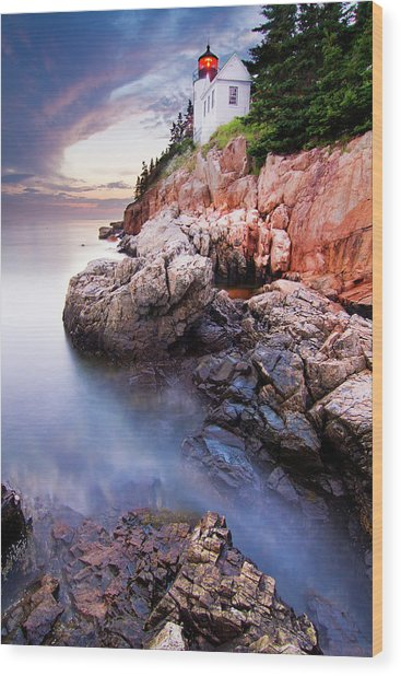 Sunset At Bass Harbor Lighthouse Wood Print