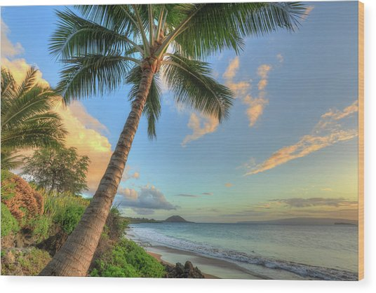 Sunset At Beach, Wailea, Maui, Hawaii Wood Print by Stuart Westmorland