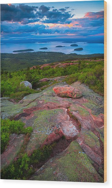 Sunset At Cadillac Mountain Wood Print