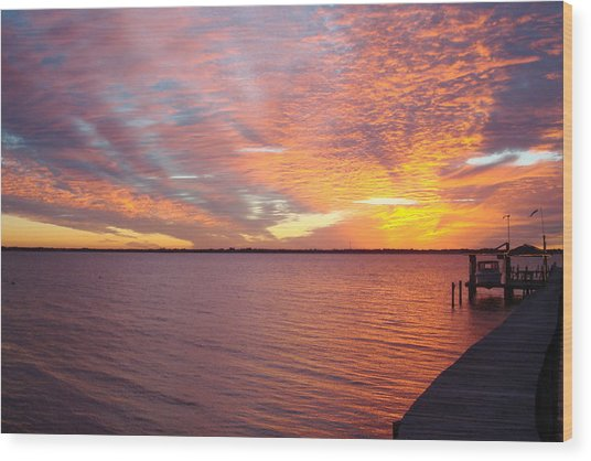 Sunset At Cafe Coconut Cove 2 Wood Print