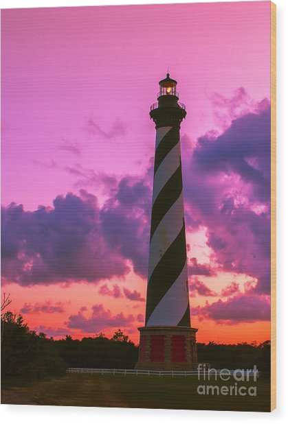 Sunset At Cape Hatteras Vertical  Wood Print