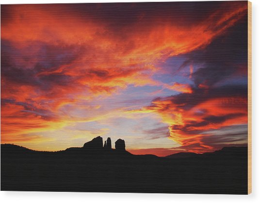 Sunset At Cathedral Wood Print