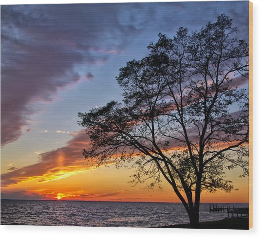 Sunset At Chesapeake Beach Wood Print