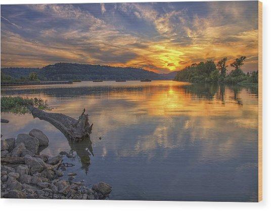 Sunset At Cook's Landing - Arkansas River Wood Print