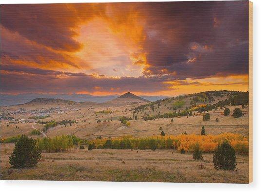 Sunset At Cripple Creek Overlook Wood Print