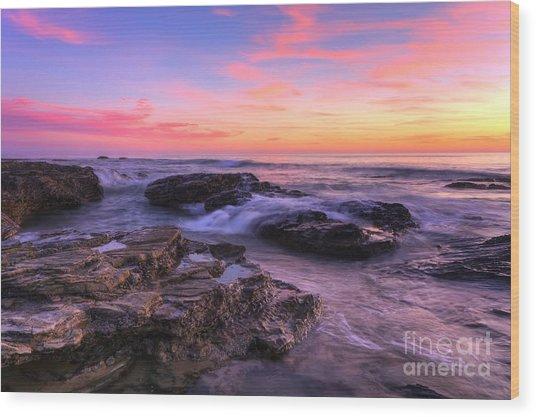 Sunset At Crystal Cove Wood Print by Eddie Yerkish
