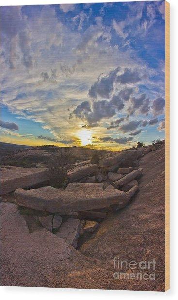 Sunset At Enchanted Rock State Natural Area Wood Print