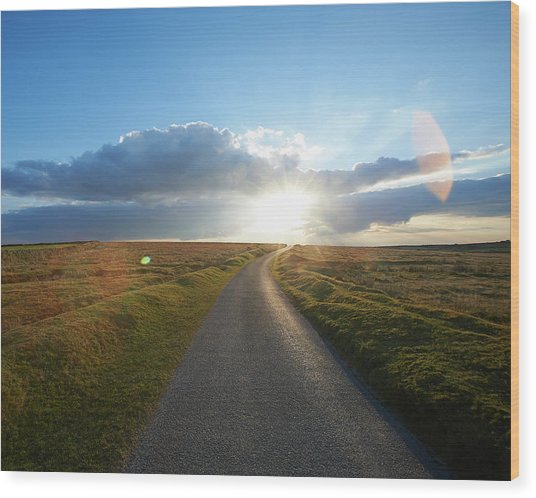 Sunset At End Of Long Country Road Wood Print by Dougal Waters