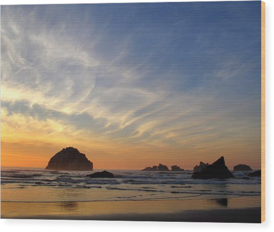 Sunset At Face Rock Wood Print