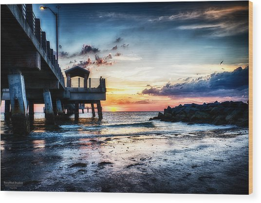 Sunset At Fort Desoto 3 Wood Print