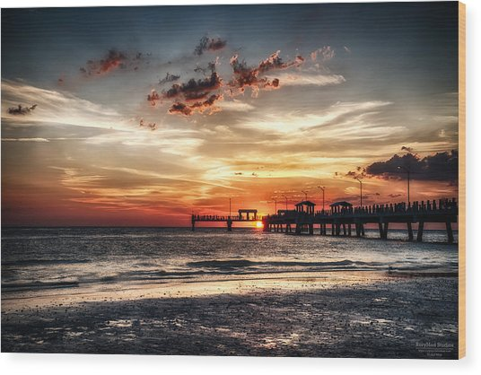 Sunset At Ft Desoto Wood Print