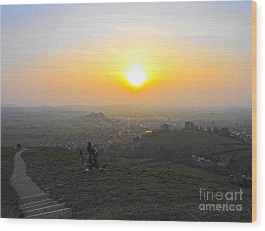 Sunset At Glastonbury Tor Wood Print