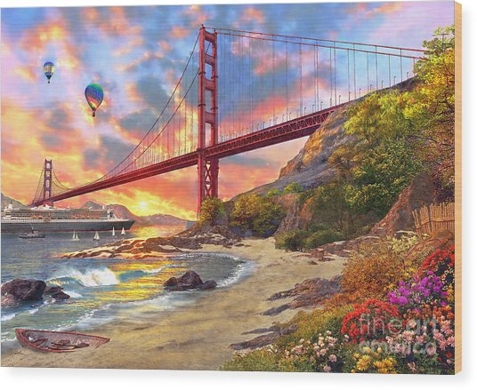 Sunset At Golden Gate Wood Print