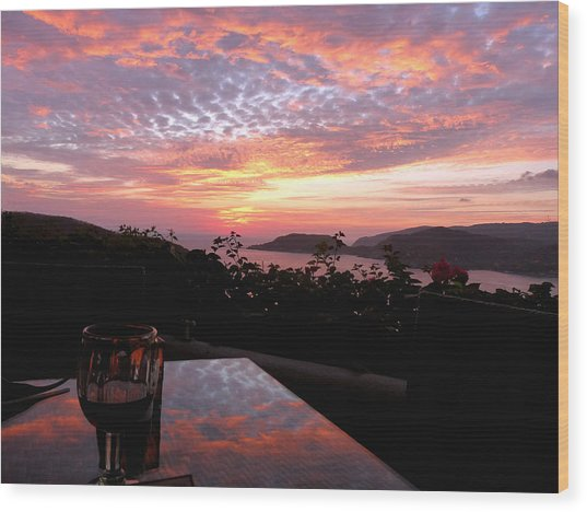 Sunset Over Zihuatanejo Bay Wood Print